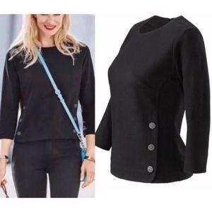 Cabi Black Long Sleeve Utility Top Shirt SZ L